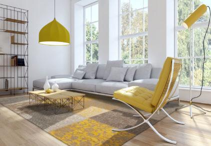żółty dywan patchwork yellow 8084