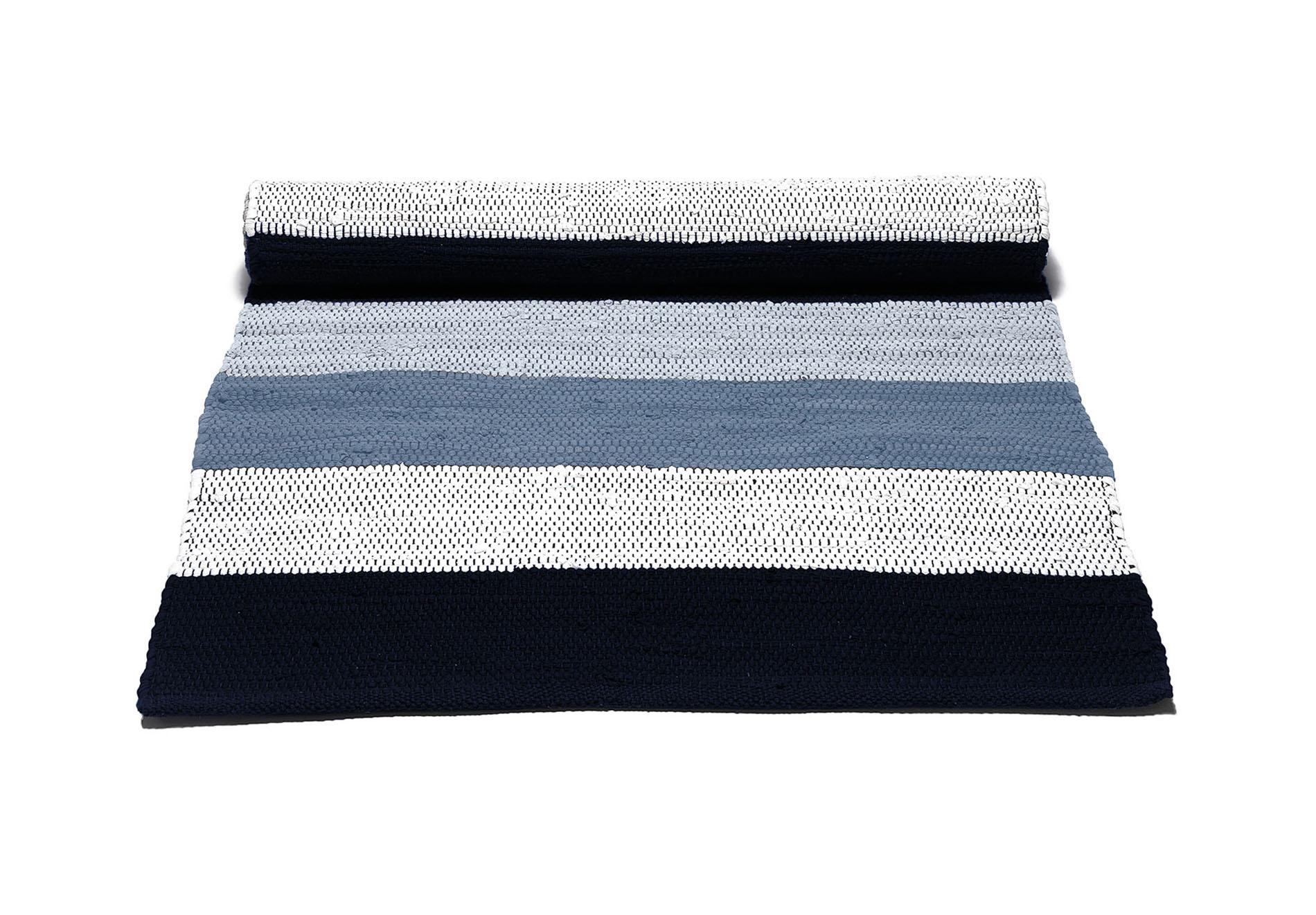 biało niebieski dywan bawełniany z recyklingu - Blue Stripes 0031