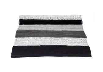 czarno szary Dywan bawełniany z recyklingu - Black Stripes 0030