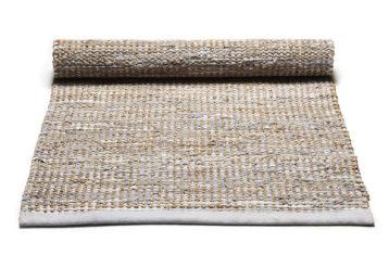 Szaro beżowy dywan z juty i skóru z recyklingu - Smooth Grey 0026