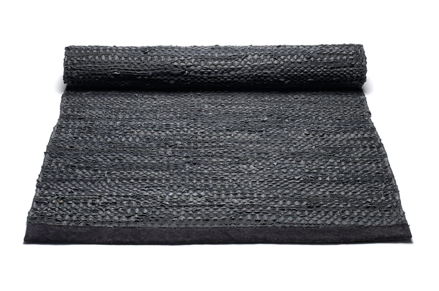 czarny dywan skórzany z recyklingu leather Black 0023