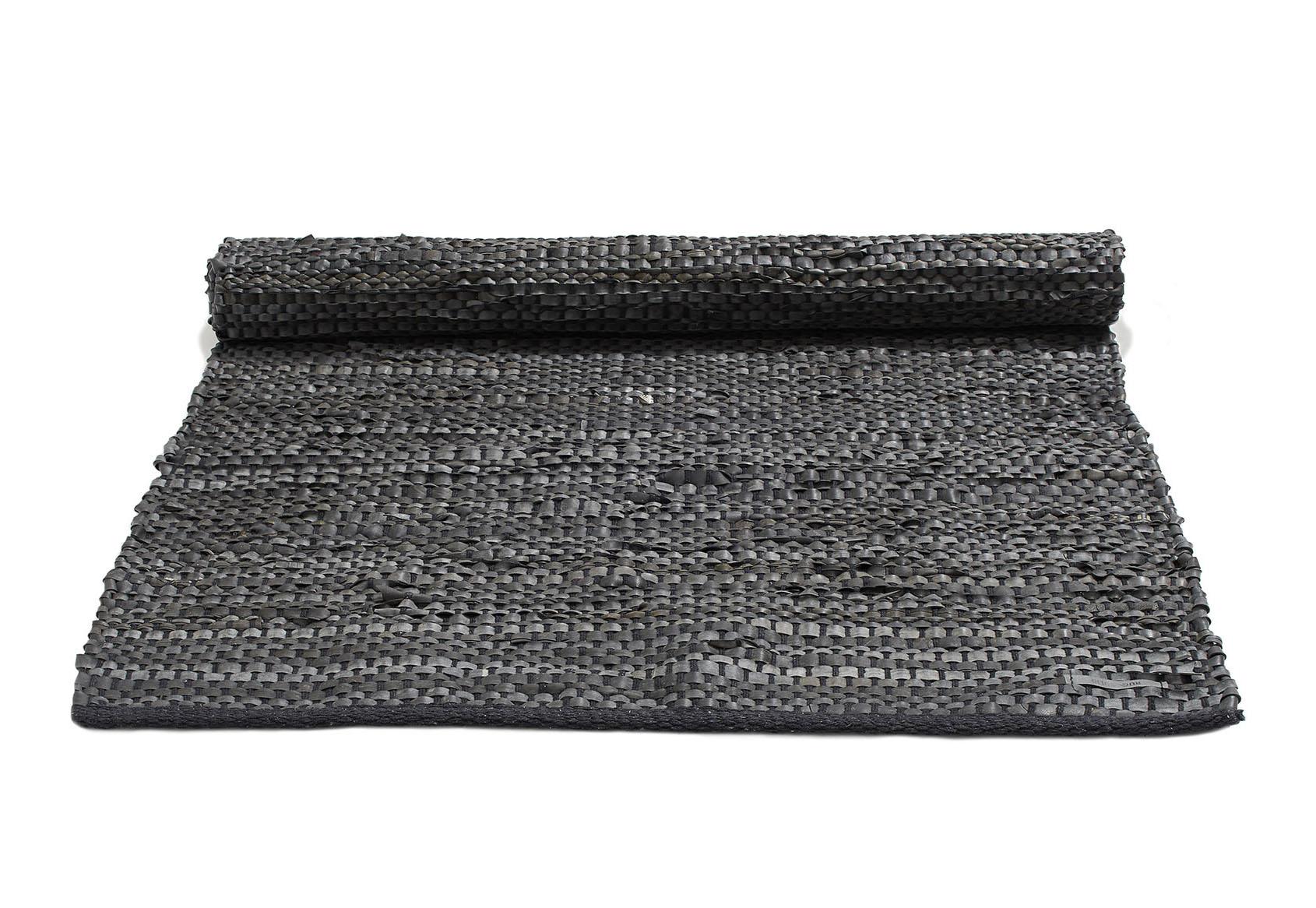 czarny dywan z dętek rowerowych z recyklingu - Bicycle Tube Black 0006