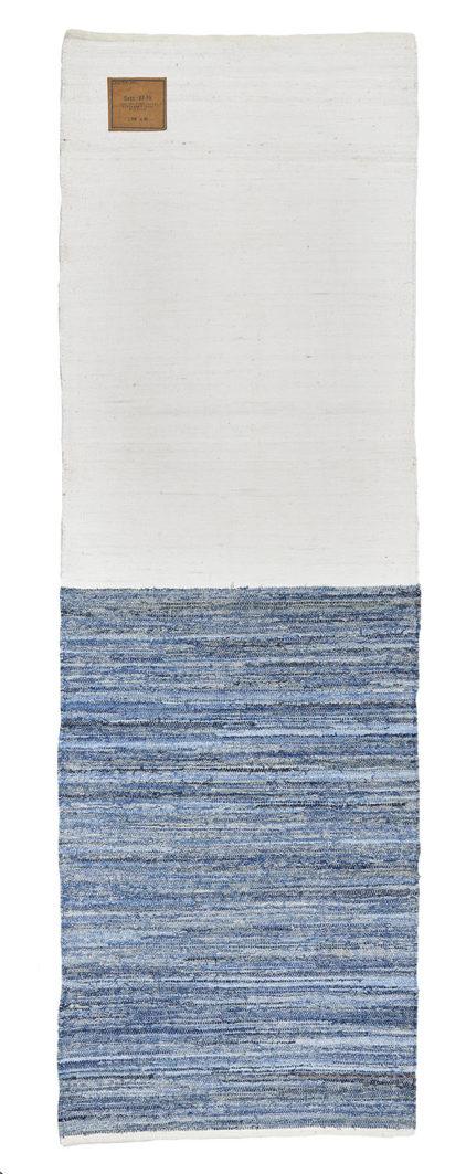 niebiesko biały dywan dżinsowy z recyklingu 80x240 White Tee & Jeans 0044