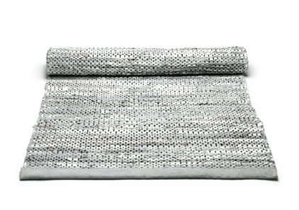 szary dywan skórzany z recyklingu Leather Light Grey 0024