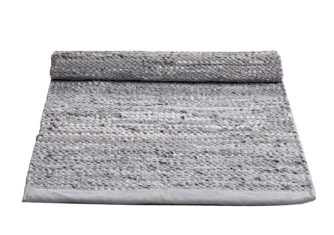 szary dywan skórzany z recyklingu Leather Limestone 0025