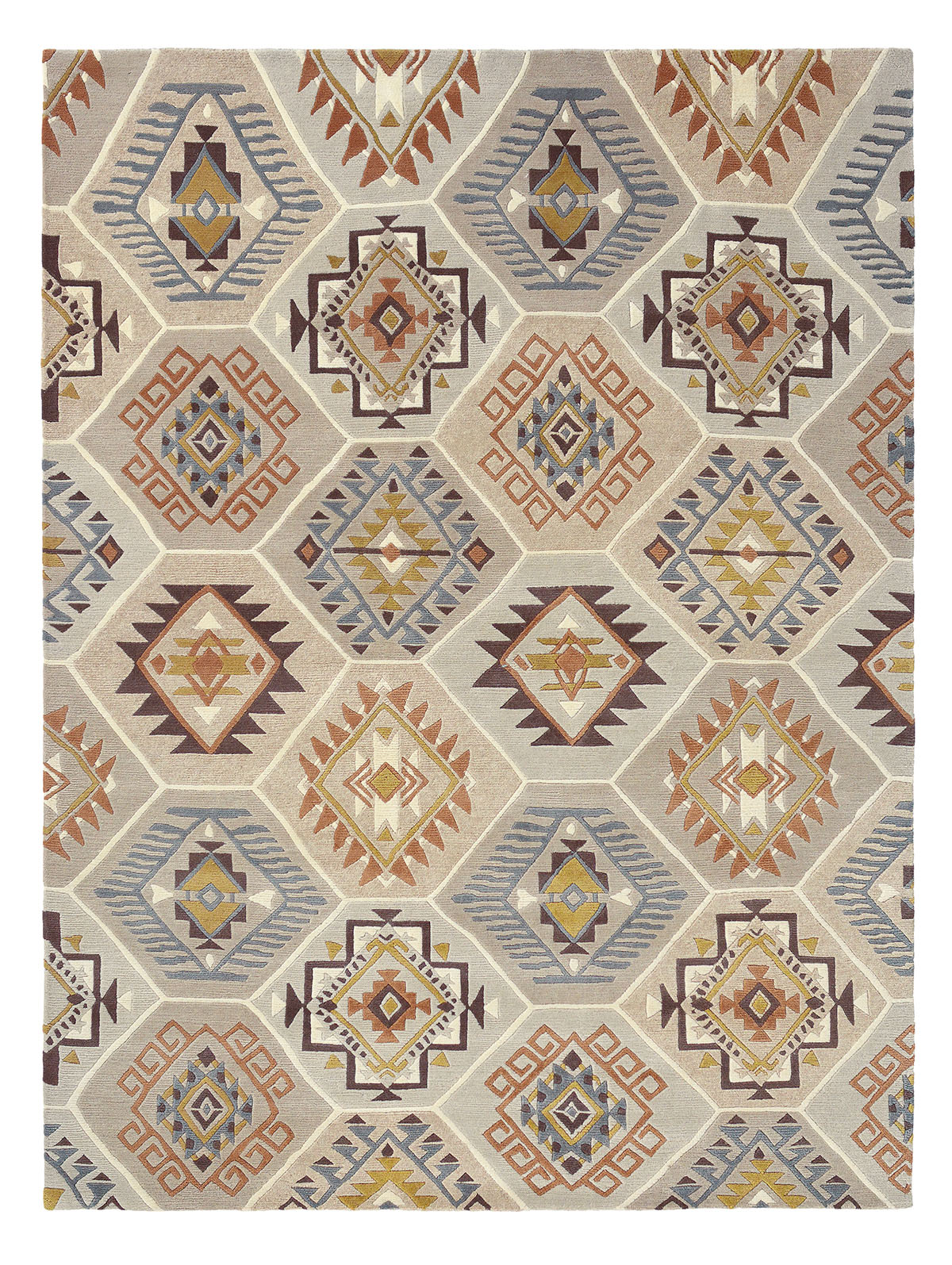 beżowy dywan geometryczny Yara Nomad 33401