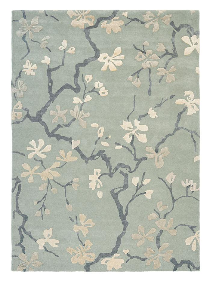 błękitno szary dywan w kwiaty Anthea China Blue 47107