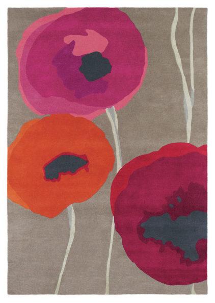 czerwono beżowy dywan w kwiaty Poppies Red Orange 45700