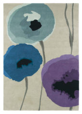 niebiesko beżowy dywan w kwiaty Poppies Indigo Purple 45705