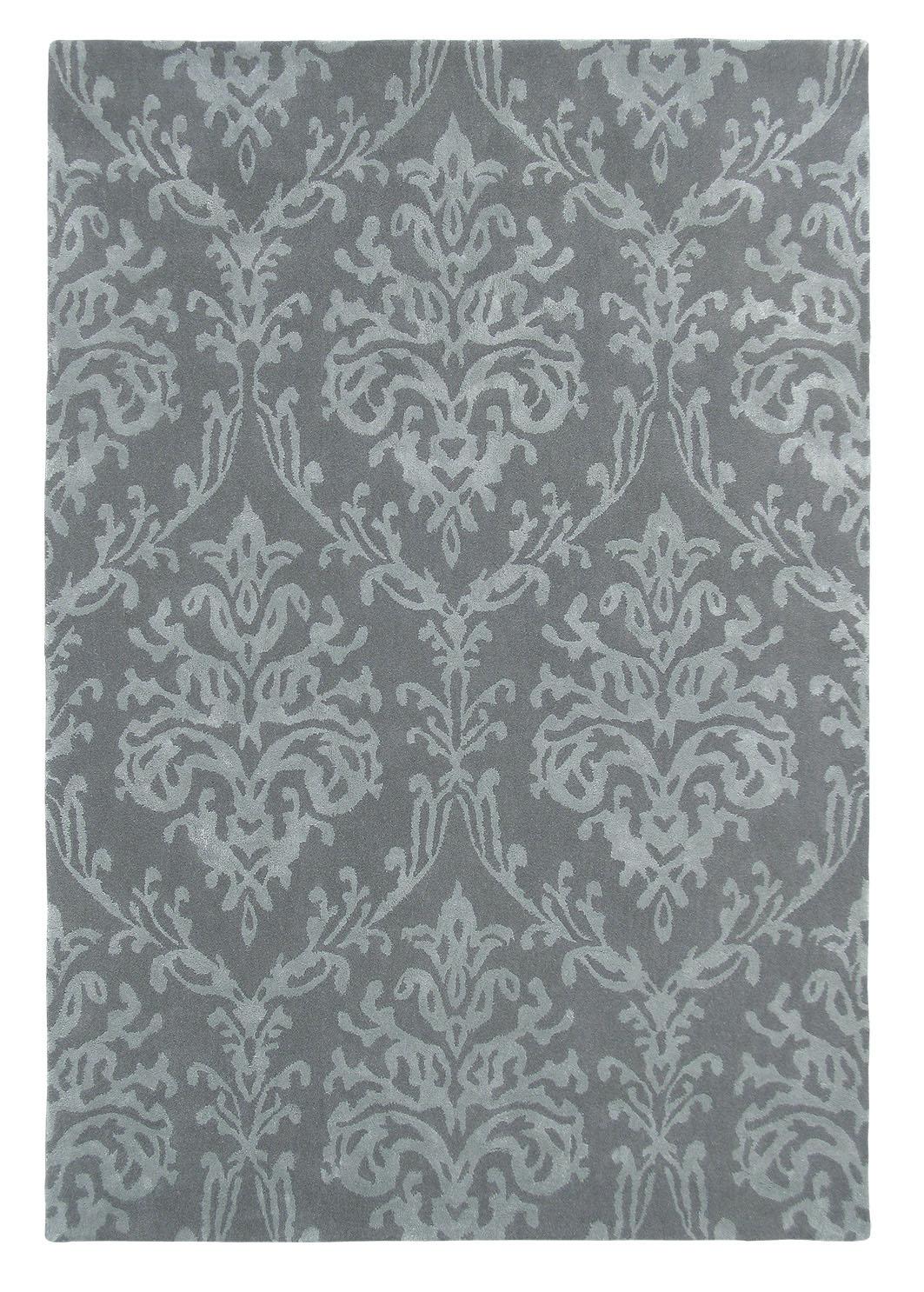 szary dywan w ornament Riverside Damask Pewter 46705