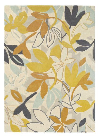 Beżowo Brązowy Dywan w Kwiaty BAJA DANDELION 23306