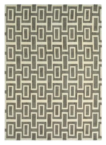 beżowo szary dywan geometryczny Intaglio Grey 37201