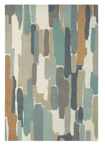 beżowo turkusowy dywan artystyczny Trattino Sea Glass 44804