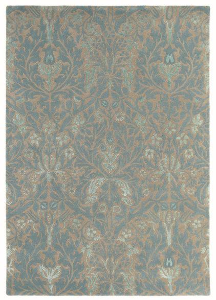beżowo turkusowy dywan w ornament Autumn Flower Eggshell 27508
