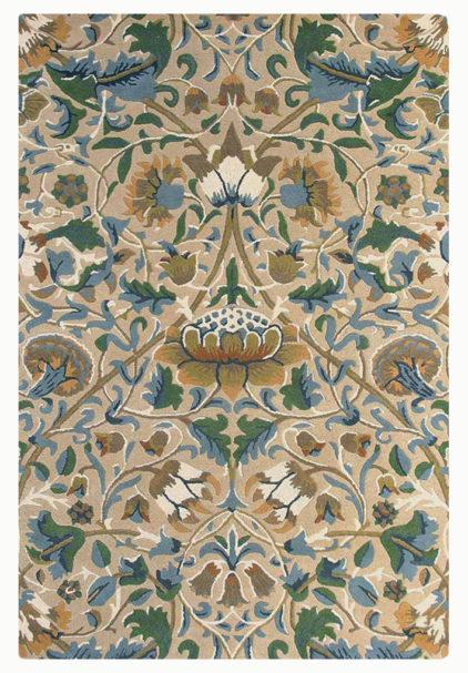 beżowo zielony dywan w kwiaty Lodden Manilla 27801