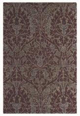 bordowy dywan w rnament Autumn Flowers Plum 27500