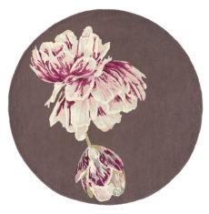 brązowo różowy dywan okragly Tranquility Round Aubergine 56005