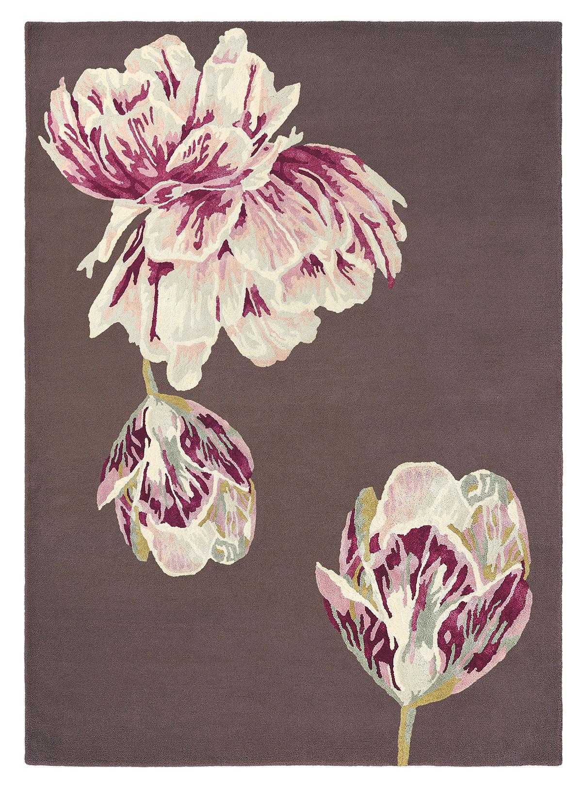 brązowo różowy dywan w kwiaty Tranquility Aubergine 56005