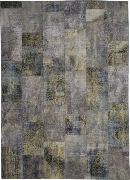 brązowy dywan perski Patchwork Gold 0649