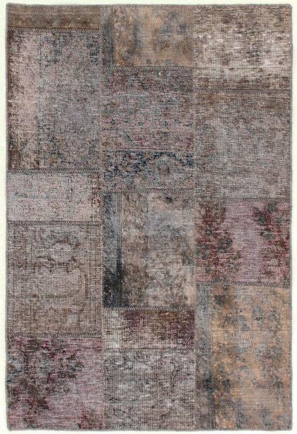brązowy dywan perski Patchwork Sand 1001