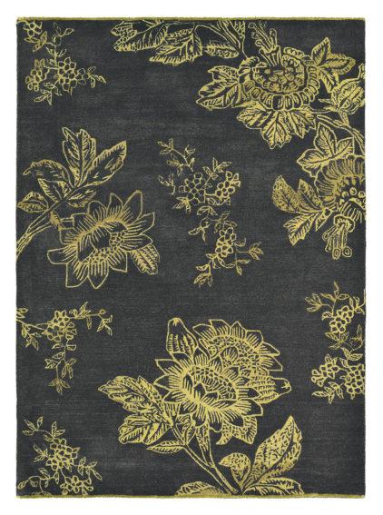 czarno złoty dywan w kwiaty Tonquin Charcoal 37005