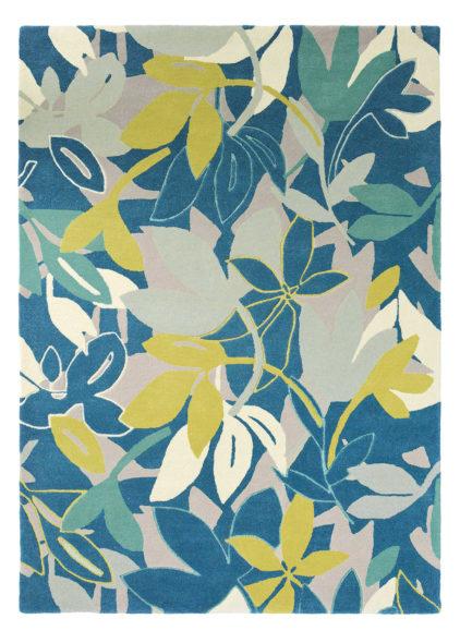 niebieski dywan w kwiaty Baja Marine 23308