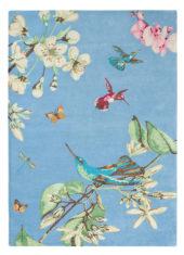 niebieski dywan w kwiaty Hummingbird 37808