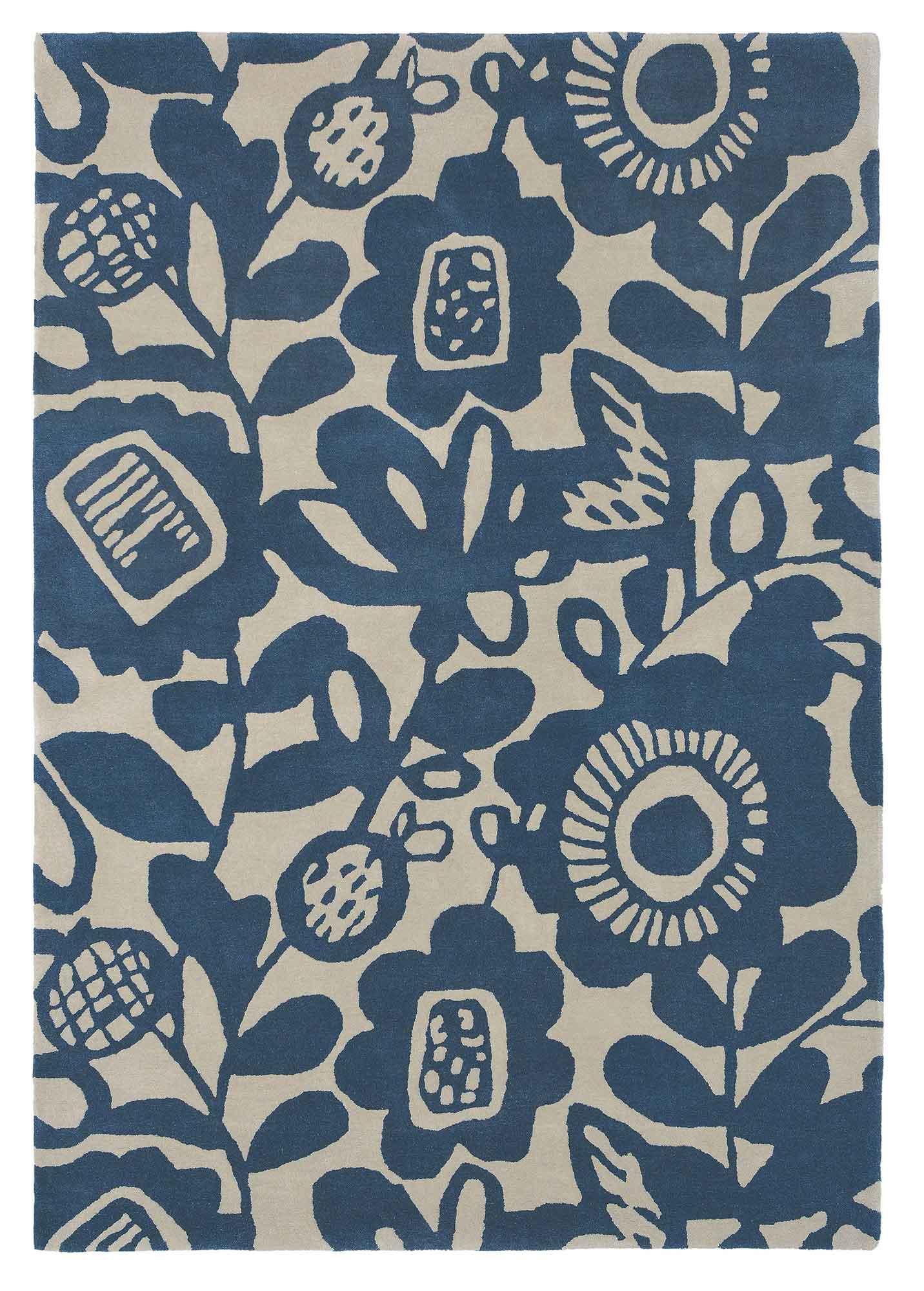 niebieski dywan w kwiaty Kukkia Ink 24508
