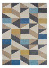niebiesko beżowy dywan geometryczny Nuevo Indigo 26108