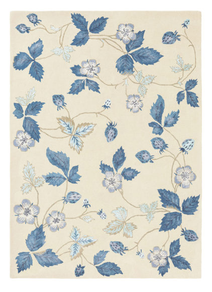 niebiesko biały dywan w kwiaty Wild Strawberry Cream 38108