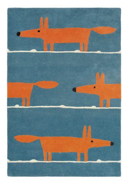 niebiesko pomarańczowy dywan dziecięcy Mr Fox Denim 25318