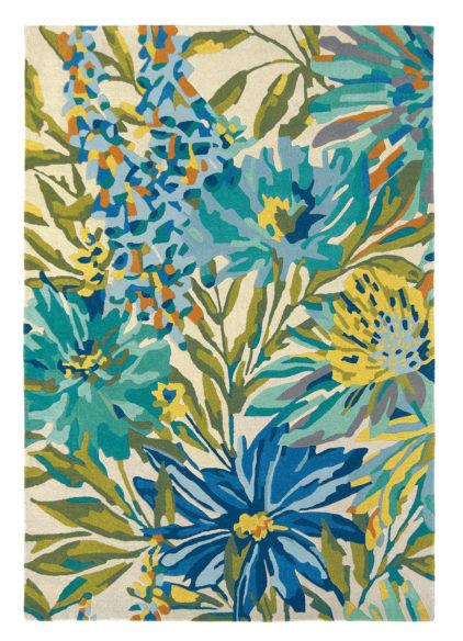 niebiesko zielony dywan w kwiaty Floreale Marine 44908