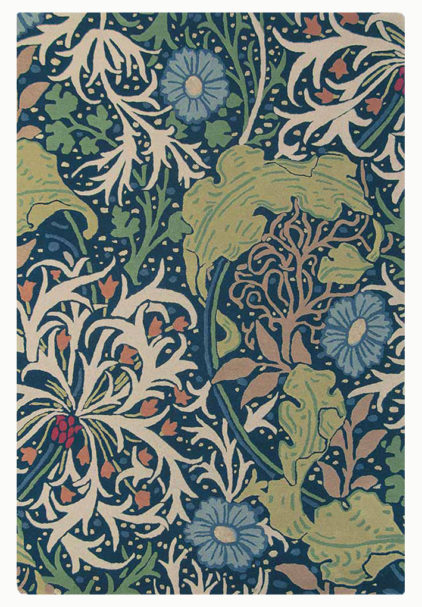 niebiesko zielony dywan w kwiaty Seaweed Ink 28008