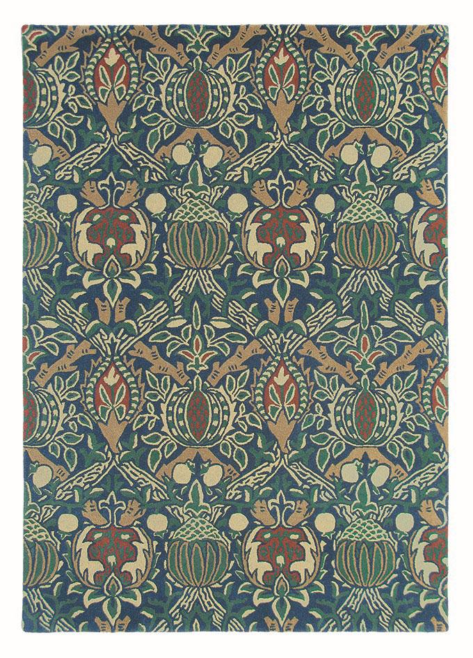 niebiesko zielony dywan w ornament Granada Indigo Red 27608