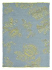 niebiesko złoty dywan w kwiaty Tonquin Blue 37008