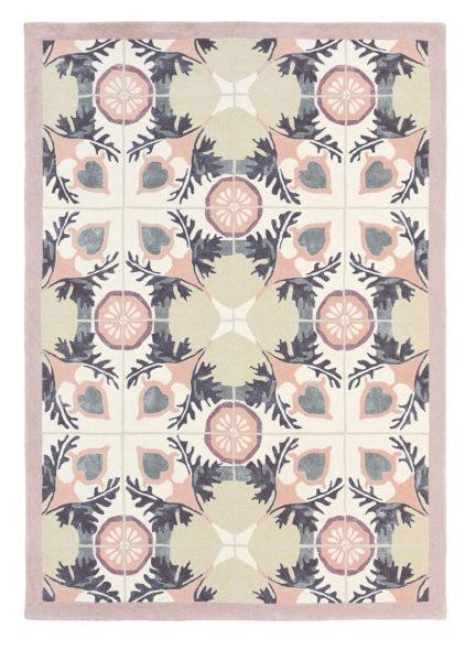 różowo beżowy dywan w ornament Violet Light Green 57301
