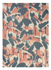 Pink and Gray Birds Rug Cranes Pink 57002