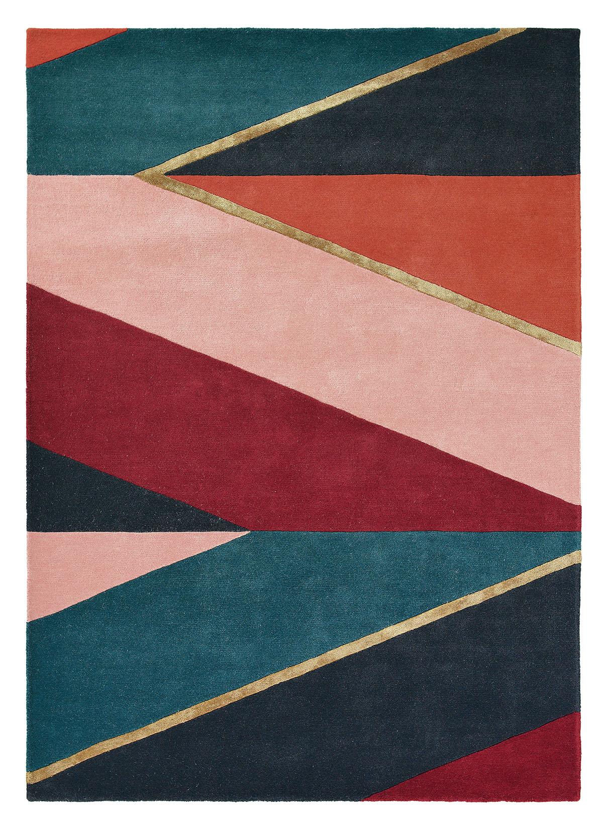 zielono bordowy dywan geometryczny Sahara Burgundy 56105