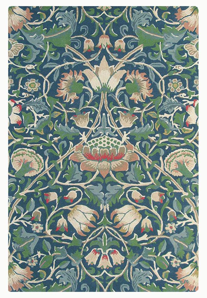 zielono niebieski dywan w kwiaty Lodden Indigo Mineral 27808