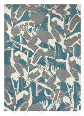 zielono szary dywan w ptaki Cranes Petrol 57008