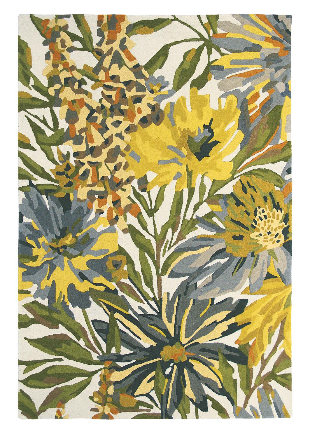 zielono żółty dywan w kwiaty Floreale Maize 44906