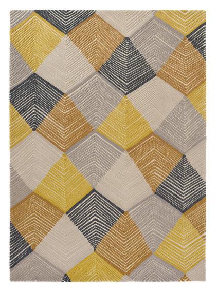 Żółto Szary Dywan Geometryczny - RHYTHM SAFFRON 40906
