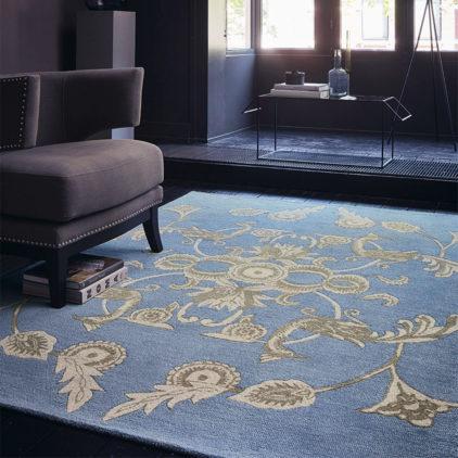 Niebieski Dywan Geometryczny Persia Blue 37718 - aranżacja