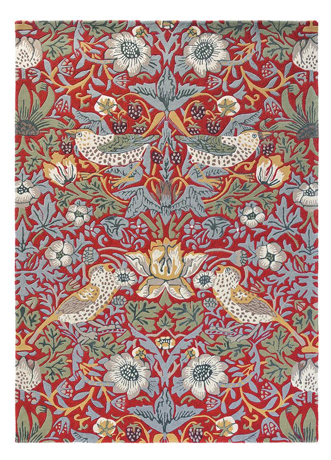czerwony dywan w kwiaty Strawberry Thief Crimson 27700