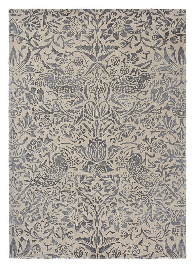Szaro Beżowy Dywan w Kwiaty STRAWBERRY THIEF INK 28105