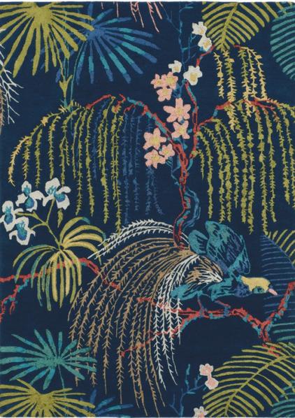 dywan niebieski w kwiaty
