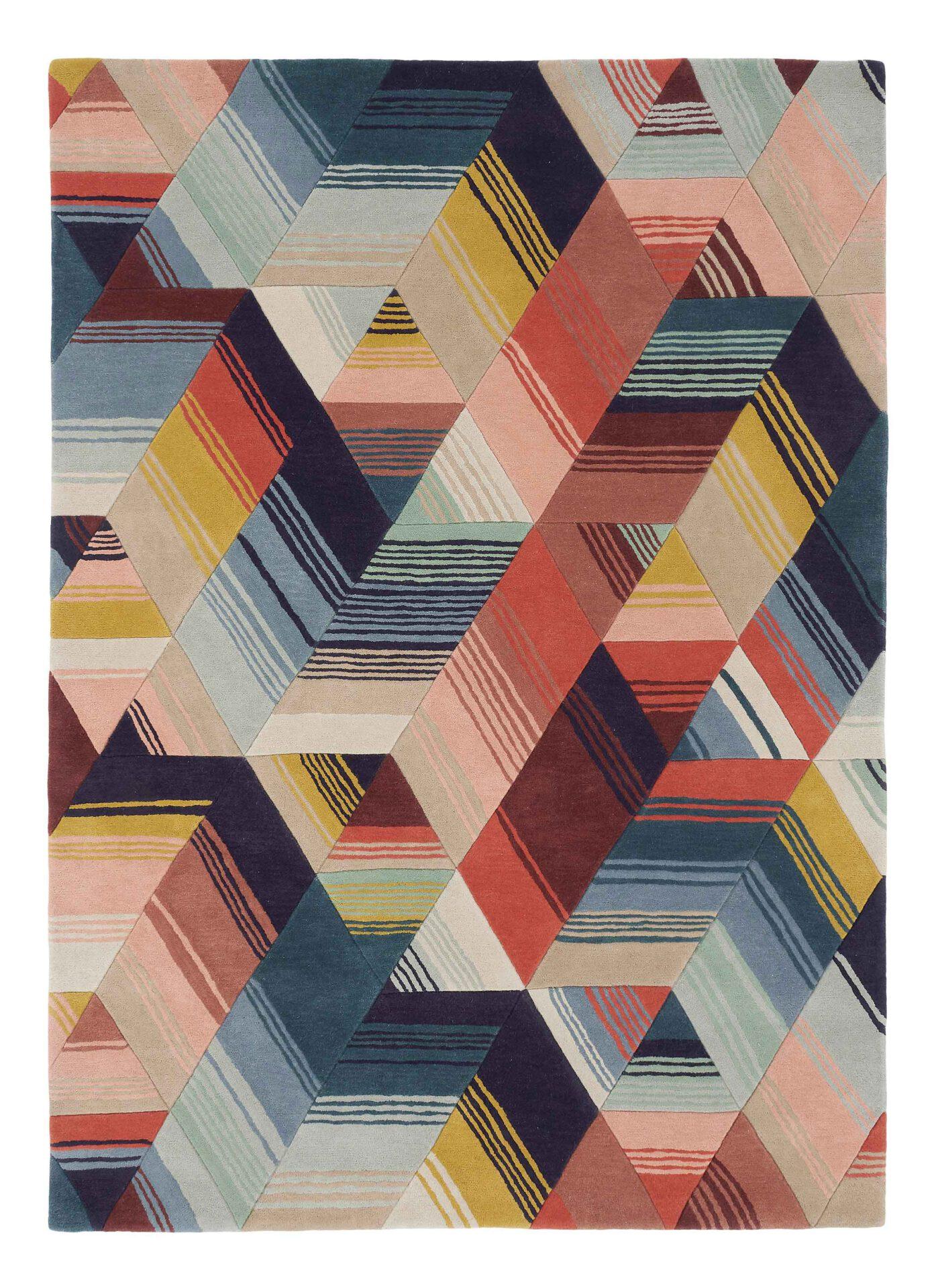wielokolorowy dywan geometryczny
