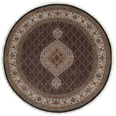 Okrągły Czarno Beżowy Dywan Orientalny - Tabriz Indi Black Cream 1293681 - widok z góry