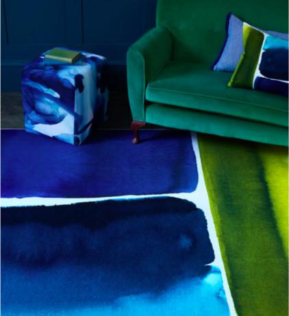 Abstrakcyjny Niebiesko Żółty Dywan Artystyczny- MURALLA AZURE 150108 - aranżacja