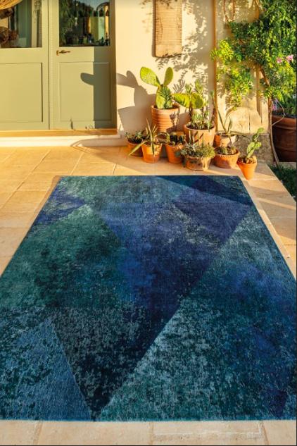 niebieski dywan geometryczny lisboa saphir blue 9052 wizualizacja